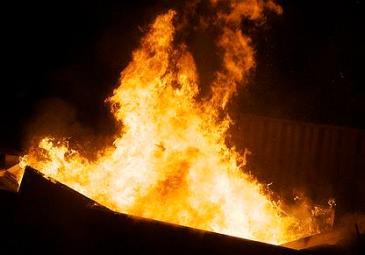 fire in a dumpster